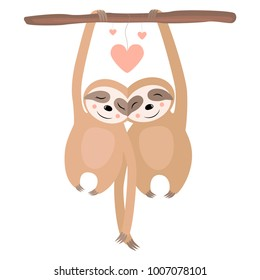 Love Sloth Postcard Vector illustration