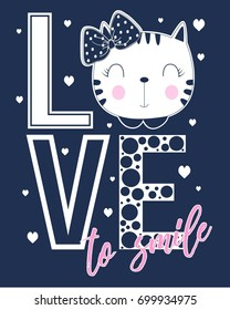 love to smile slogan and face cat illustration vector.