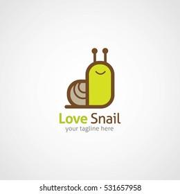 Love Snail Logo Design Template. Vector Illustration