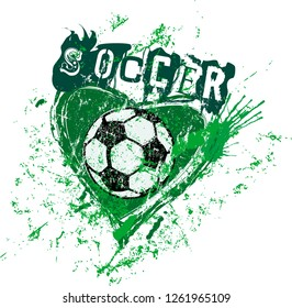 love for soccer, symbol with heart and soccer ball, grunge style vector illustration