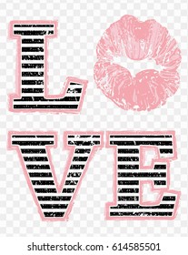Love and soft pink kiss lips print on transparent background. Woman t-shirt design. Fashion print composition for ladies textile wear, top, shirt, blouse