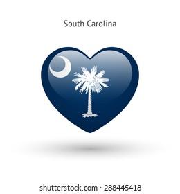 Love South Carolina state symbol. Heart flag icon. Vector illustration.
