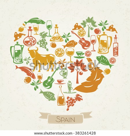 Love Spain Heart Shaped Pattern Spanish Stock Vector Royalty Free
