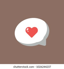 Love Speech Bubble Icon Flat Vector. Love symbol. Valentine's Day sign, emblem isolated on background with shadow, Flat style for graphic and web design, logo.