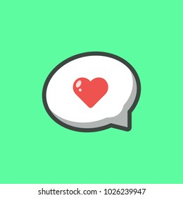 Love Speech Bubble Icon Illustration Vector. Love symbol. Valentine's Day sign, emblem isolated on background with shadow, Flat style for graphic and web design, logo.