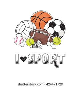 I love sport illustration. Collection of vector sport ball. Soccer, volleyball, basketball, rugby balls set. Hand drawn balls isolated on white background.