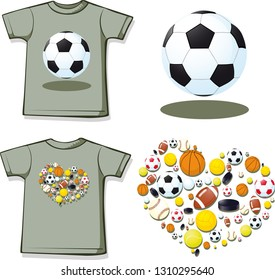 Love Sport Shirt with Short Sleeves - Vector Illustration