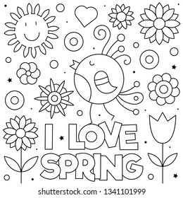 I love Spring. Coloring page. Vector illustration. Bird, flowers.