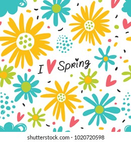 I love spring. Seamless background with flowers and clouds.