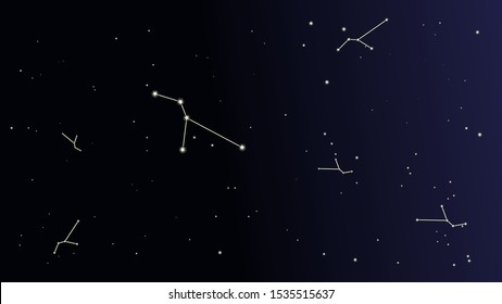 Love Starrs. Constellation Map. Astronomical Print. Beautiful Cosmic Sky with Many Stars. Dark Blue Galaxy Pattern. Vector Sky Cosmos Background.