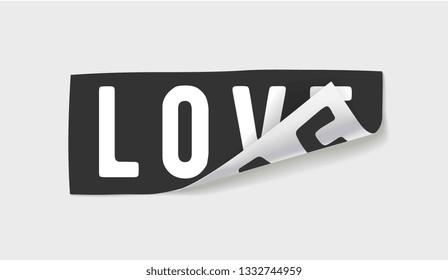 love sticker peel off illustration
