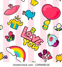 Love stickers seamless vector pattern. Valentine's Day texture. Romantic patches striped background