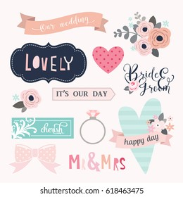 Love stickers. Signs, symbols, objects and templates for planners, wedding invitations, notebooks, diaries and valentine's day cards.