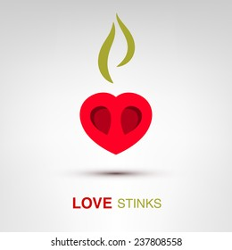 Love stinks - creative Valentines Day heart concept