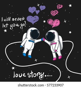 Love story of boy and girl astronauts in space.Cartoon childish vector illustration