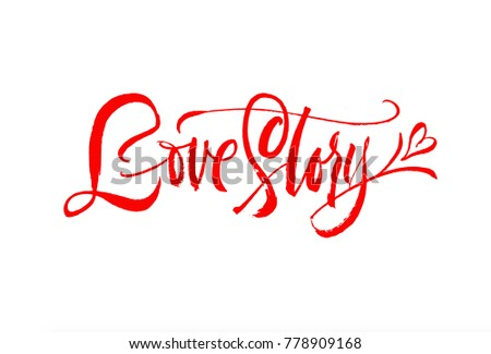 Love Storyigraphy Handwriting Lettering Brush Pen Style Modern And Unique Hand Type Red And Bright Minimal Word Vector