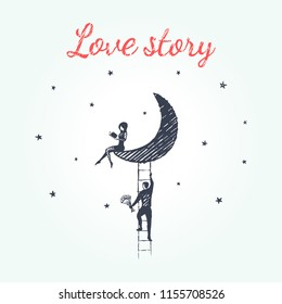 Love story concept sketch. A boy with a bouquet of flowers climbs the stairs to the moon to his girl who reads the book and does not expect to see him. Vector hand drawn illustration.