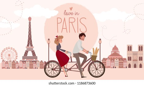 Love story in Paris with a lover couple riding a bicycle. Romantic poster, Love you card or wedding invitation. Editable vector illustration