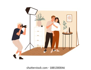 Love story photoshoot session. Family photographer taking pictures or shooting posing couple in photo studio interior with professional light. Flat vector illustration isolated on white background