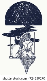 Love story tattoo and t-shirt design. Girl and boy on swing. Symbol of romantic, dream, motivation, adventure. People in universe