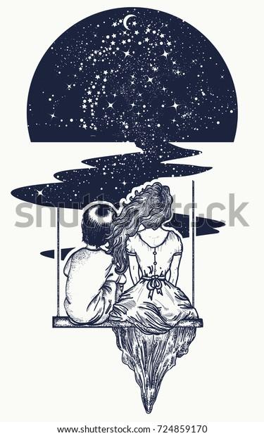 Galexy Girl Swinging Tattoo: Love Story Tattoo Tshirt Design Girl Stock Vector (Royalty