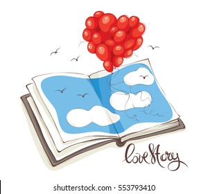 Love story, Valentine's card / Heart made of balloons flying out of the book or album