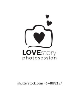 Love story and wedding hotography and photo studio hand drawn logo black color sketch. Vector design element, business sign, logo, identity, label, badge and branding for business. Vector illustration