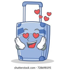In love suitcase character cartoon style