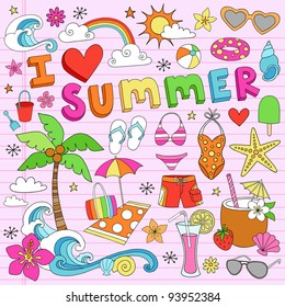 I Love Summer Psychedelic Groovy Notebook Doodle Design Elements Set on Pink Lined Sketchbook Paper Background- Vector Illustration