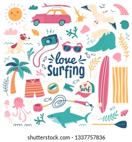 Love surfing background. Vector illustration in cartoon style of summer icons, including animals, plants and surfing equipment: surfboard, fins, leash and clothes elements. Isolated on white.