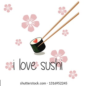 I Love Sushi Icon Logo for valentine