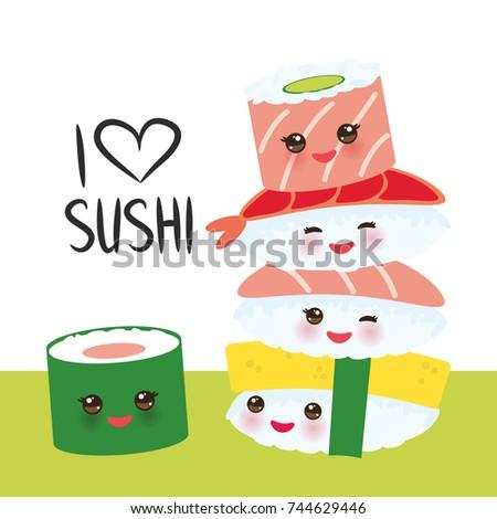Adorable sushi Kawaii t Dibujos kawaii Kawaii y Dibujo