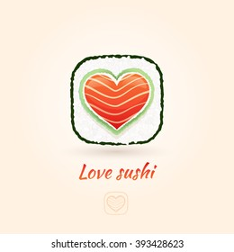 Love sushi vector icon in form of heart. Vector design element.