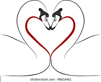 love swans with red heart - freehand illustration on a white background, vector