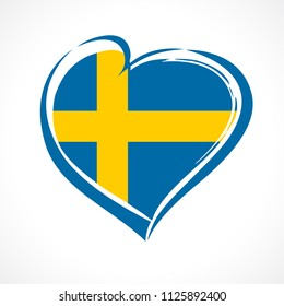Love Sweden emblem with heart in national flag color. National holiday in Sweden 1 January vector greetings card. Celebration Swedish anniversary of Joined the European Union in 1995