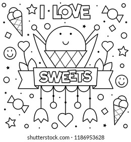 I love sweets. Coloring page. Vector illustration.