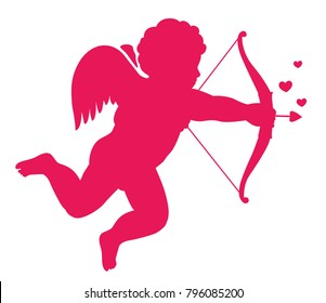 Love symbol eros silhouette. Vector illustration. Isolated background.