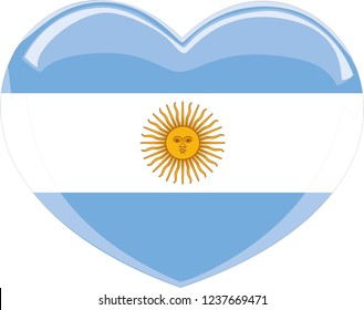 Love symbol. Heart flag icon. Vector illustration.Argentina flag in a heart shape, Argentina, Argentina flag vector, vectoral flag, travelling, language school, language course, language, heart