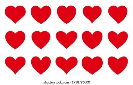 Love symbol icon set. Red symetric hearts. Different shapes Romantic Valentine abstract heart collection. Decorative element for invitation card. Isolated on white vector illustration in a flat style