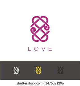love symetric ornamnet, logo line design