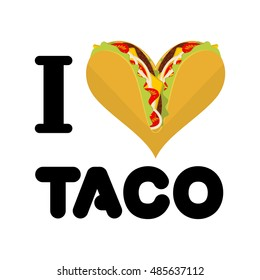 I love taco. Heart symbol of Mexican food. Tortilla chips and onion. Tomato and fresh meat. Logo for fastfood lovers
