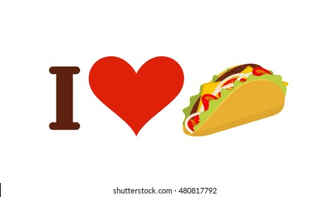 I love taco. Heart and traditional Mexican food. Tortilla chips and onion. Tomato and fresh meat. Logo for fastfood lovers