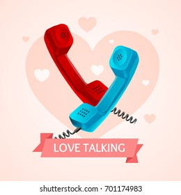 Love Talk Old Phone Concept on a Background Of Heart Symbol Of Romance. Vector illustration for lovely card