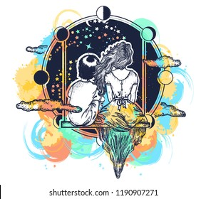 Love tattoo watercolor splashes style. Girl and boy on swing. Concept romantic, dream, motivation, adventure. Couple in love  t-shirt design. Symbol of immortal love