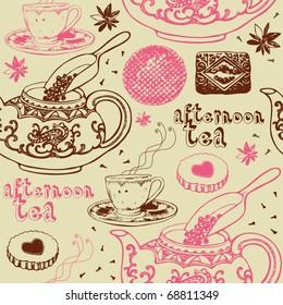 love tea seamless background