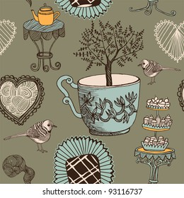 love tea seamless background with bird