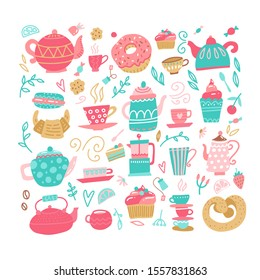 Love tea set with tea drinking elements- teacup, sweeties, candy, cake, teaspoon, teapot, teabag. Vector hand drawn color flat illustration made in cartoon style