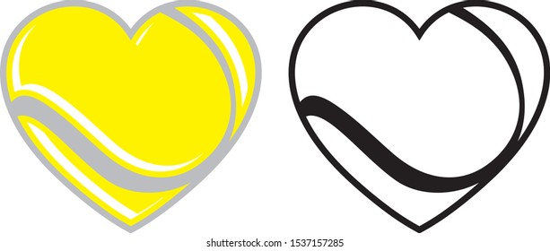 I love Tennis,  Tennis Ball in heart