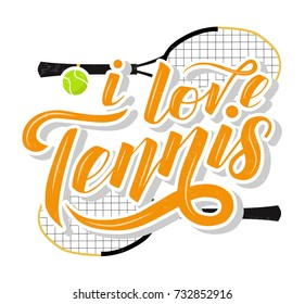I love Tennis custom lettering text with tennis racets and ball on white background, vector illustration. Tennis calligraphy. Sport, fitness, activity vector design. Print for T-shirt and caps.