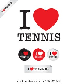 i love tennis, font type with signs, stickers and tags